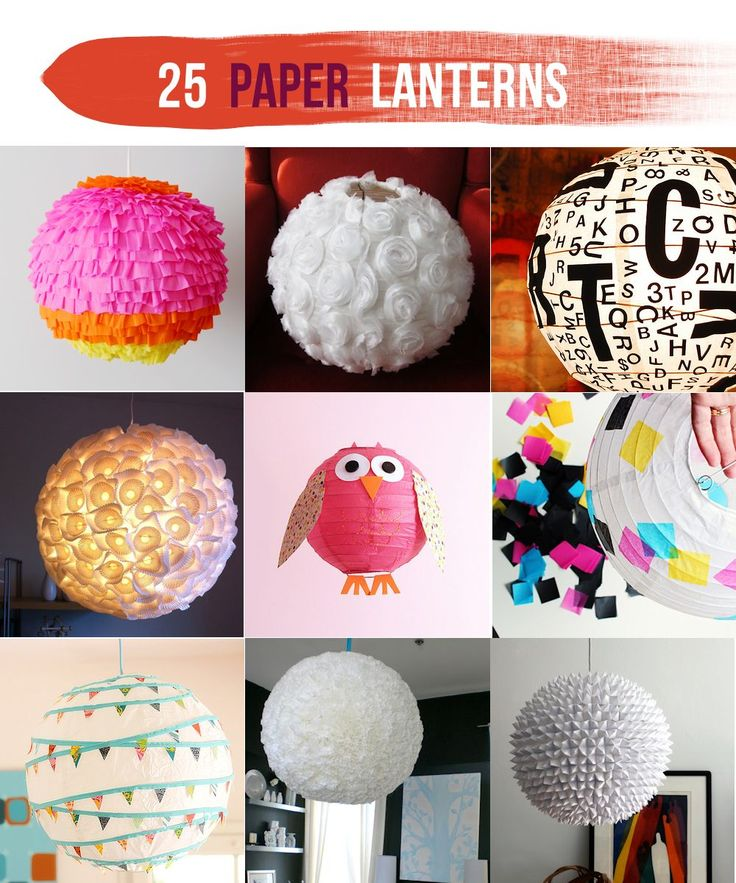 """Lines Across"": 25 Paper Lantern Makeovers  #lantern #paper #pendant #DIY #party #wedding"