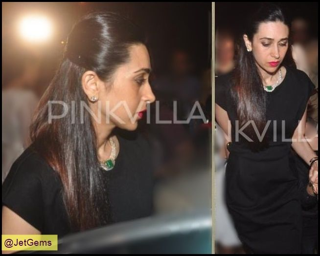 Gorgeous Karishma Kapoor adorning beautifully designed emerald necklace by Jet Gems for the midnight mass at Mount Mary. #JetGems #Celebrity #Patron #KarishmaKapoor