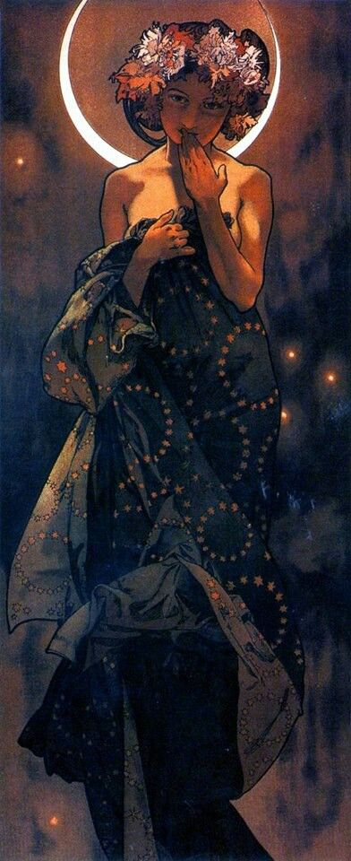 "Alphonse Mucha (Czech, 1860 - 1939). The Moon and the Stars: Study for ""The Moon"", 1902. Ink and watercolor on paper, 56 x 21 cm."