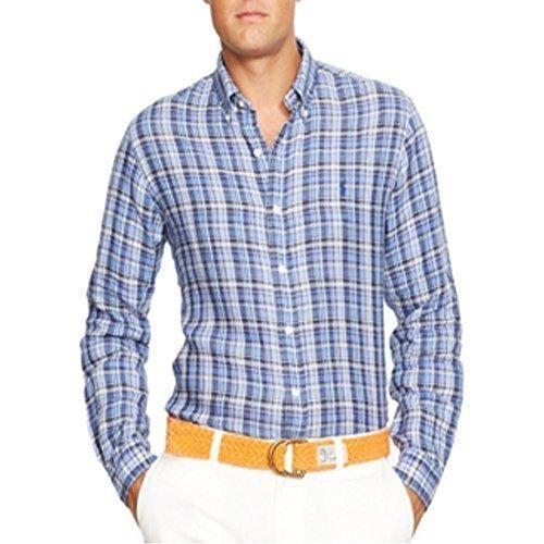 f761dfb94 NWT  145 Polo Ralph Lauren Shirt Men XLT TALL Striped Blue Plaid Linen NEW   PoloRalphLauren  ButtonFront