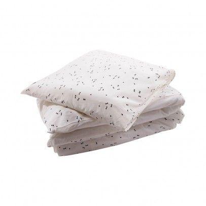 Junior cream bed linen set - black pattern  April Showers