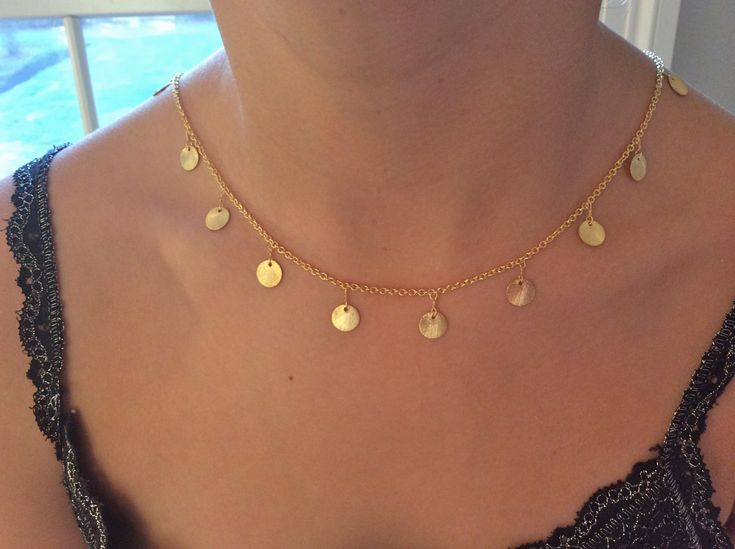 Gold Necklace, Dainty Gold Disc Necklace, Gold Disc Necklace, Gold Choker, birthday gift, Gifts for Her, Best Friend Gifts, Gifts for Mom