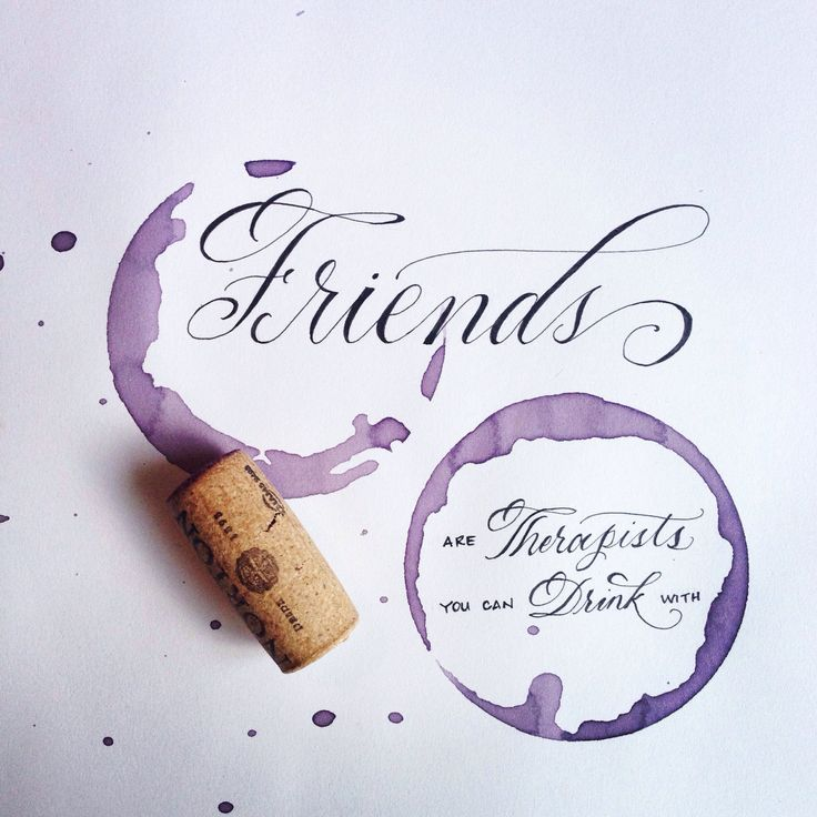 Wine time with my gal pals | #moderncalligraphy #lettering