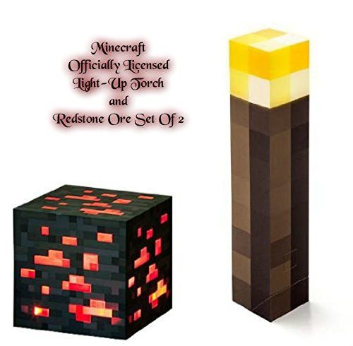 minecraft light up torch and redstone ore set of 2 aesthetic lighting minecraft indoors torches