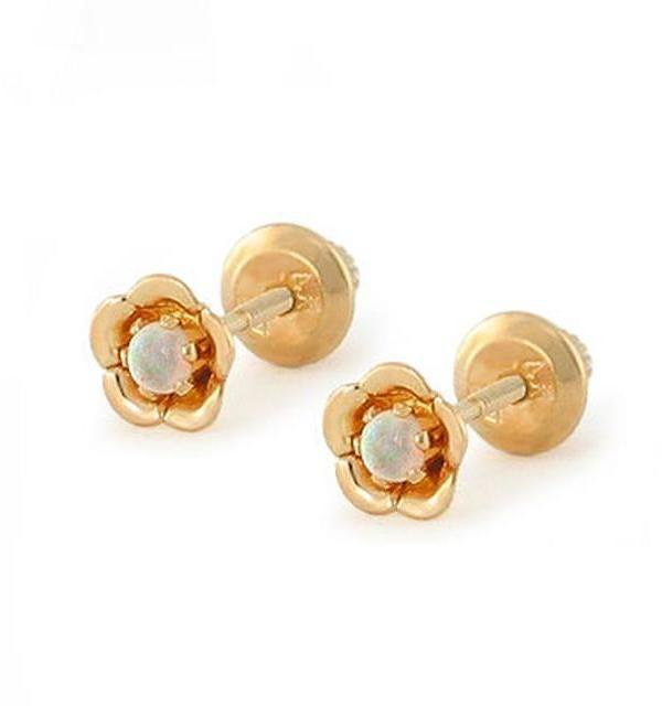 Ice 14K Gold Flower Shape Opal Stud Earrings for Baby