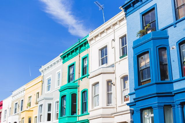The colourful houses of London's Notting Hill.