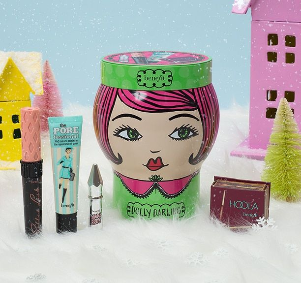 full sized roller lash, hoola, the POREfessional and gimme brow in a colourful and snowy winter scene