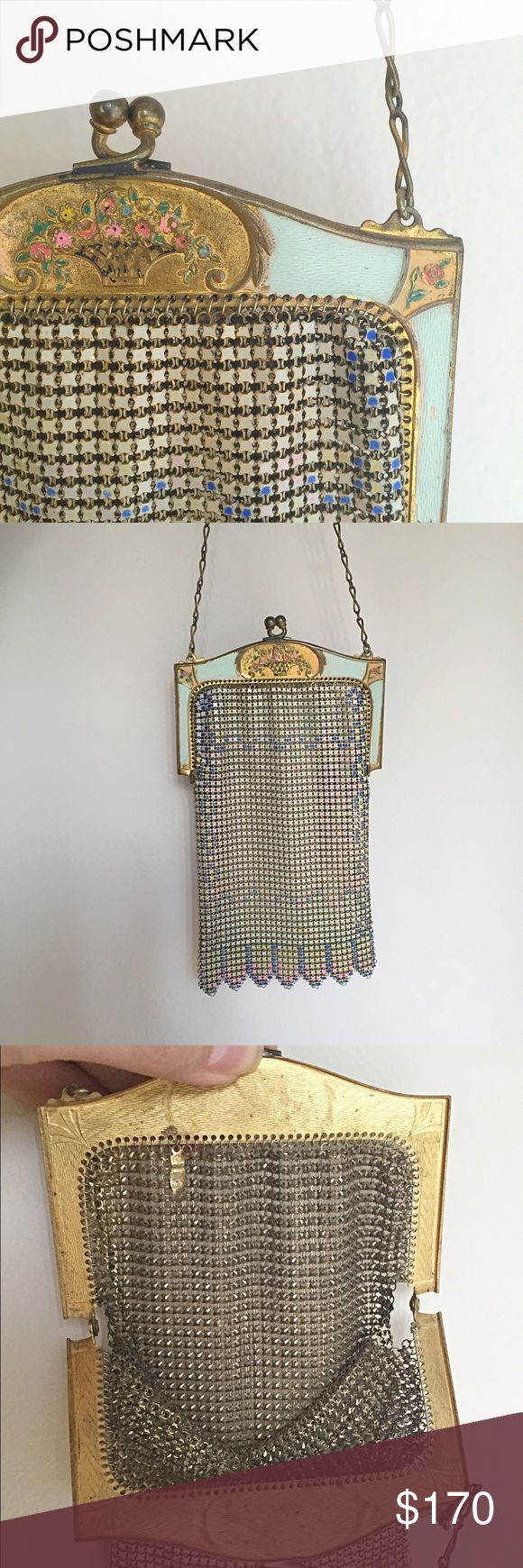 RARE 1920s Whiting & Davis Art Nouveau Mesh Purse RARE ornate enameled Art Nouveau frame on this 1920s Whiting and Davis Armor enameled mesh purse. The frame background is a light mint; normal wear to enameled frame; enamel color on mesh bag has significant wear as shown; remnants are pink, blue, and light yellow-cream. Bend as noted to link in chain. Kiss lock in perfect working condition; gap/hole in mesh near each hinge (common in these bags); one spot rust (tiny) to mesh as seen. Last…
