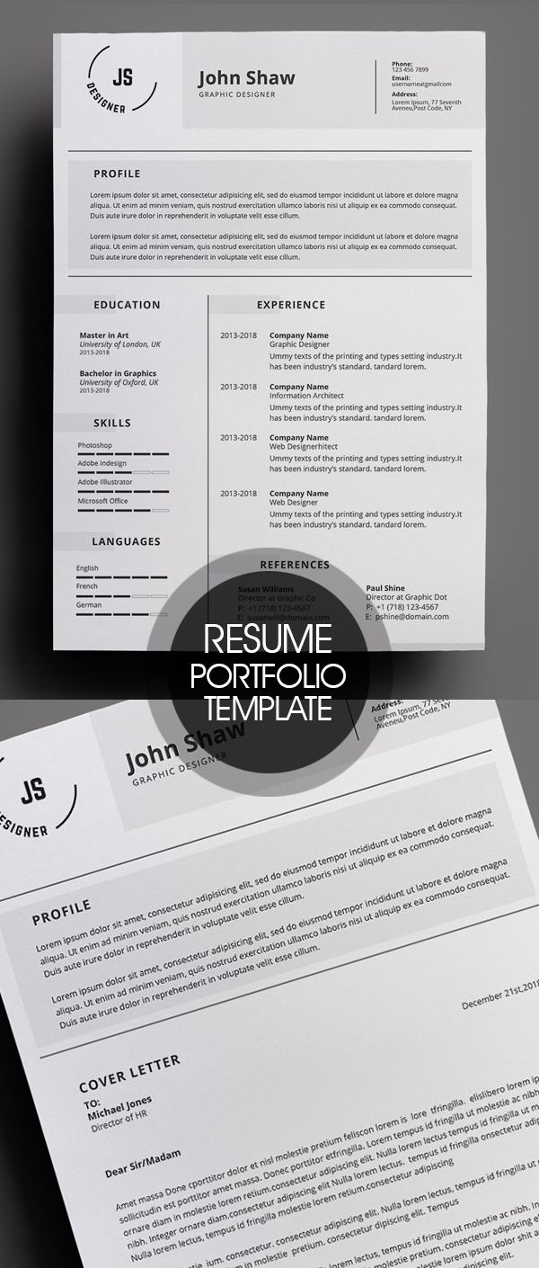 25 Simple Clean Cv Resume Templates With Cover Letters