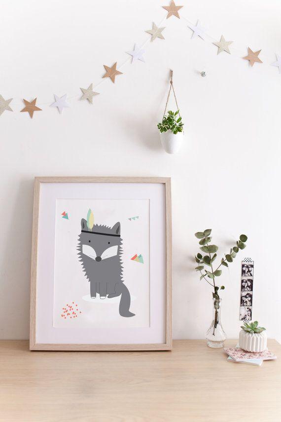 """Affiche pour enfants """"Loup Indien"""" idéal chambre de bébé. Cadeau de naissance - décoration chambre"""