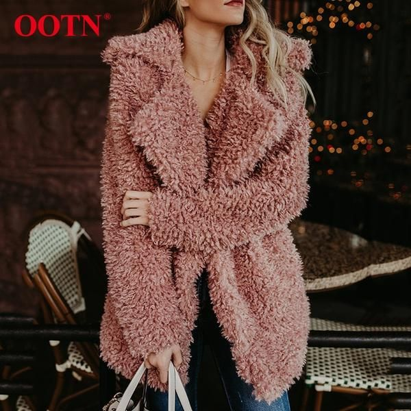 Fur Coats Women Long Sleeve Coat, Pink Teddy Bear Faux Fur Coat