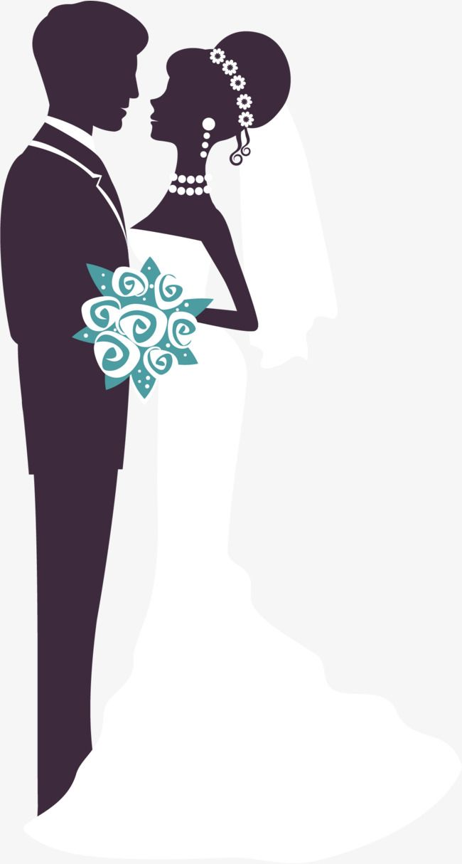 Hand Drawn Married Men And Women Hand Flower Wedding Png And Vector With Transparent Background For Free Download Wedding Silhouette Bride And Groom Cartoon Hand Painted Wedding