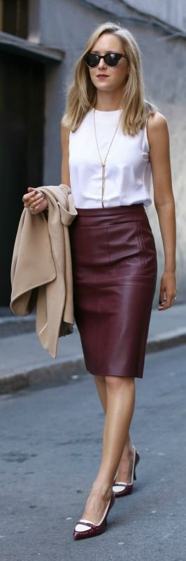 burgundy leather skirt, white tank, camel sleeveless coat ...