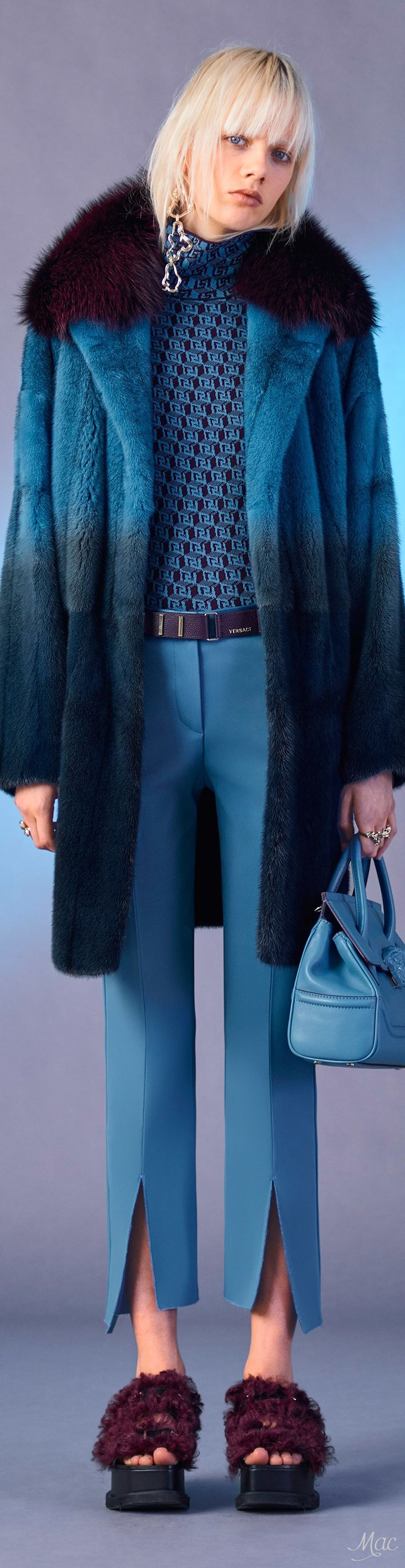 Pre-Fall 2017 Versace-aw hell no to the shoes, and I have a feeling that coat is not faux...but still