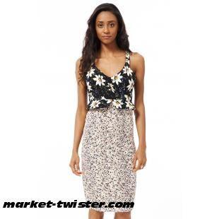 Flower Print Bodycon Midi Dress