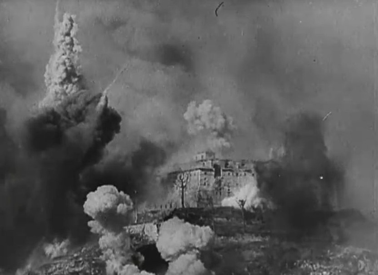 The historic monastery of Monte Cassino in Italy under aerial bombardment by the Allies trying to dislodge German rear guards established on the high ground, c. mid-1944.