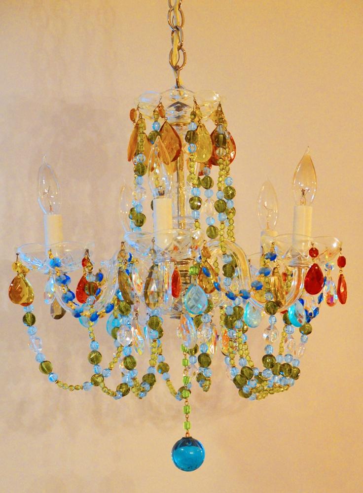 Antique Multi Color Boho Crystal Chandelier Incredible