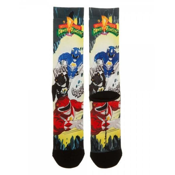 This is a pair of Power Rangers Team 1 Pair Of Crew Socks!  These are awesome. They fit men's shoe sizes 8 to 12 and are made out of 82% polyester, 16% cotton,
