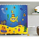 Yellow Submarine Shower Curtain Set by Ambesonne, Nautical Kids Colorful Fish Underwater Jellyfish Seahorse Shells Starfish, Fabric Bathroom Decor with Hooks, 70 Inches, Blue Yellow