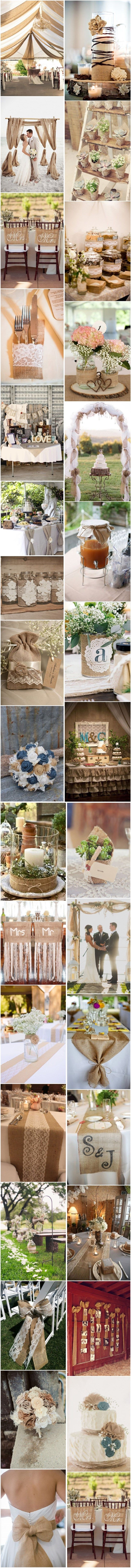 50+ Chic-Rustic Burlap Wedding Ideas, Rustic Wedding Ideas, See more: http://www.deerpearlflowers.com/50-chic-rustic-burlap-and-lace-wedding-ideas/