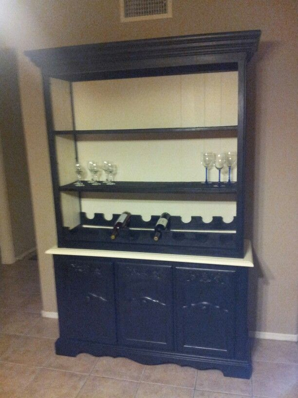 My Neighbor And Friend Refurbished China Hutch Made It Into A Wine Cabinet