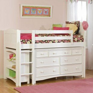Great space saver for a small room.: Ideas, Small Rooms, Bunk Bed, Dressers, Low Loft, Spaces Savers, Loft Beds, Girls Rooms, Kids Rooms