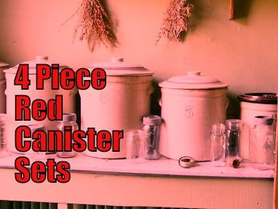 4 Piece Red Canister Set