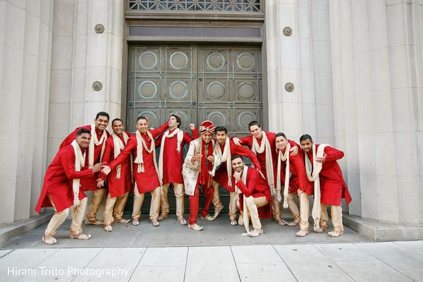 Indian groom and groomsmen in red outfits. http://www.maharaniweddings.com/gallery/photo/91177