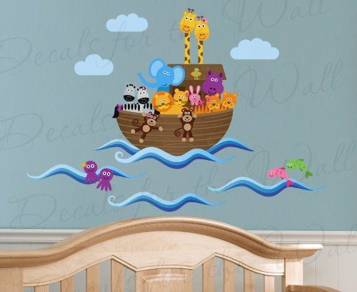 Noah's Ark and Animals in Flood Waters - Bible Church God - Girl's or Boy's Room Kids Baby Nursery Playroom - Wall Sticker Art Decoration, Vinyl Graphic Decor, Decorative Decal Mural by Decals for the Wall, http://www.amazon.com/dp/B00CN3YY6I/ref=cm_sw_r_pi_dp_AMzbsb0THAMMS