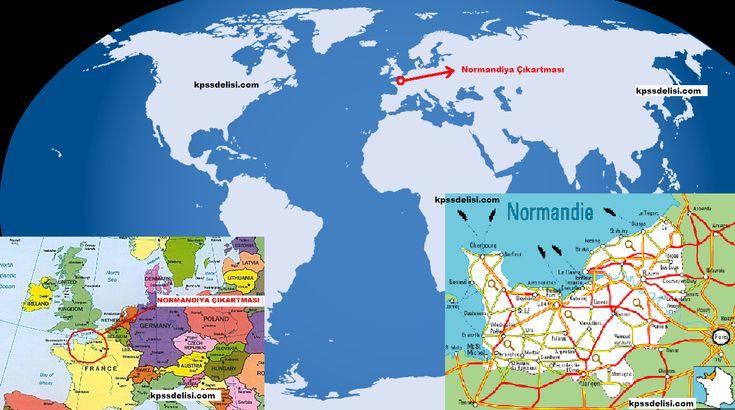 Dünya haritası üzerinde normandiya çıkartmasının yaşandığı yer, Normandiya – Fransa  Kaynak: http://kpssdelisi.com/question/cagdas-turk-ve-dunya-tarihi-normandiya-cikartmasi/