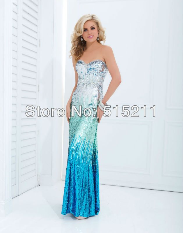 Turquoise sequin party dress for prom