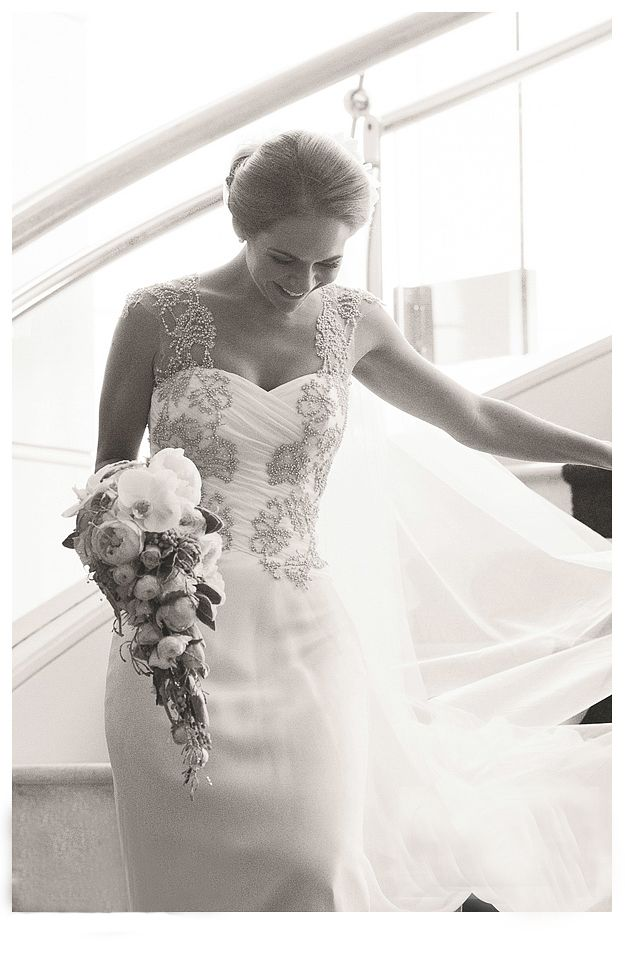 Silk chiffon wedding dress. Love the beading! Image by Michael Robertson Photography.
