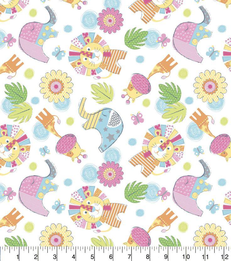 Nursery flannel fabric jungle animals jungles warm and for Safari fabric for nursery