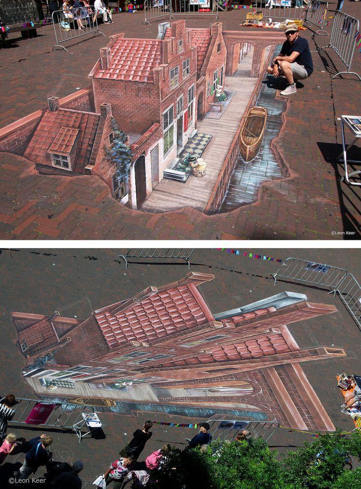 3d art leon keer anamorphic art chalk art - Amazing 3D Street Art Illusions That Will Play Tricks on Your Mind