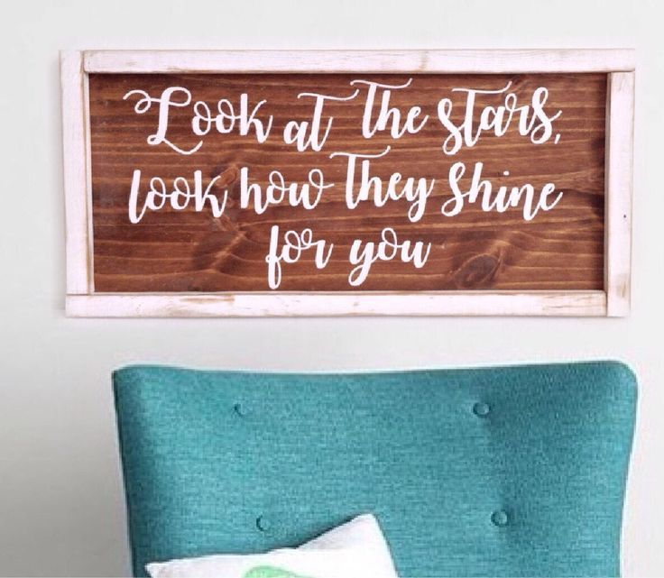 Song Lyric Sign with free shipping! https://www.etsy.com/ca/listing/546725700/look-at-the-stars-look-how-they-shine
