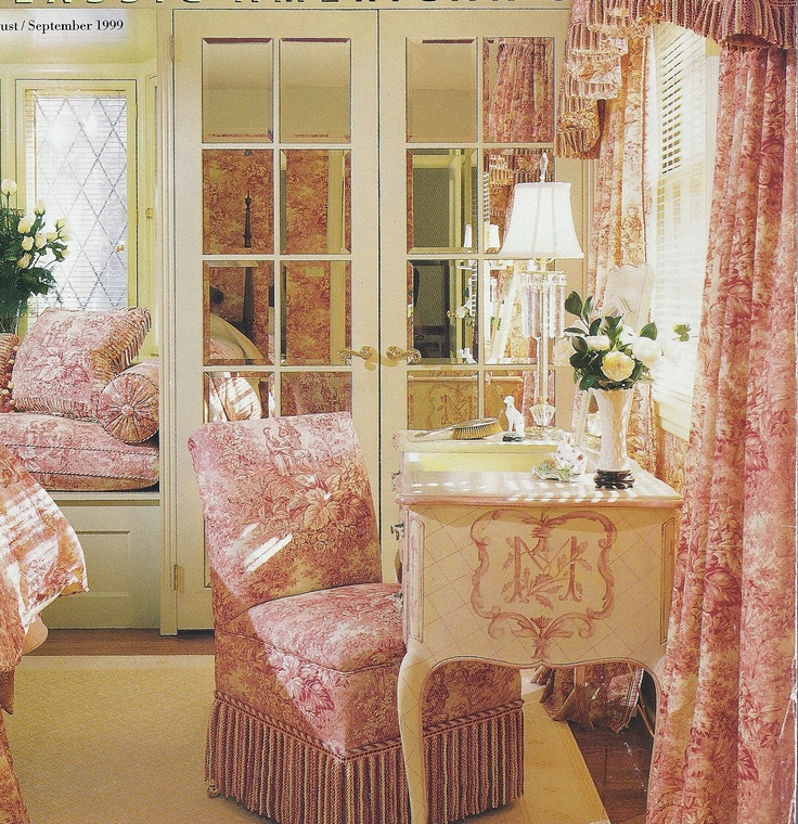 love the painter desk and the pink toile
