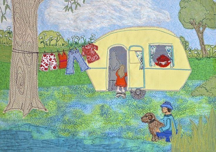 caravan picture, caravan embroidery, caravan textile art, Heidi Meier, textile picture, embroidered art, embroidery,