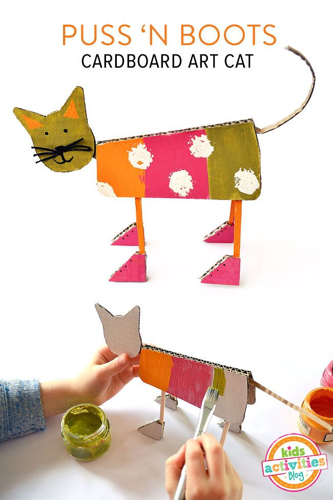 Puss N' Boots Cardboard Art Cat - great way to upcycle left-over cardboard boxes