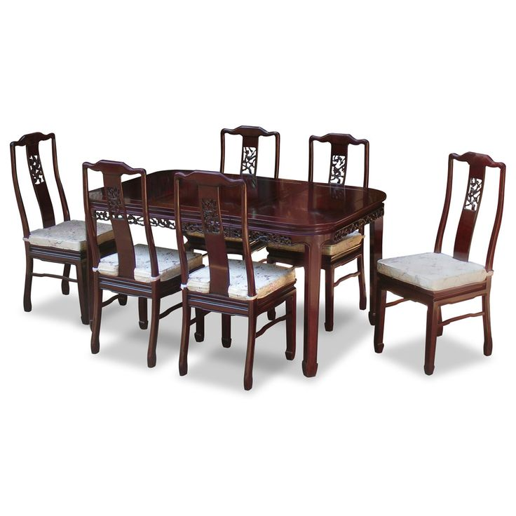 Rosewood Dining Table With 6 Chairs   Chinese Flower And Bird Design