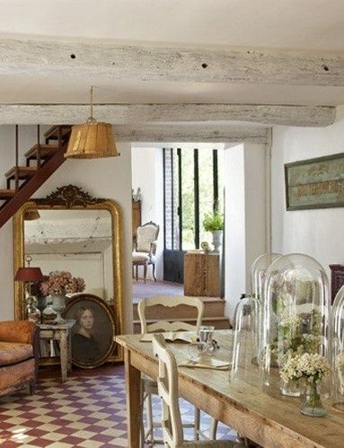 Image via  Provence-Styled Kitchens   Image via  Home inspiration from France - love the big mirror situation under the stairs | Provence-Styled Kitchens   Image via  someone making terr