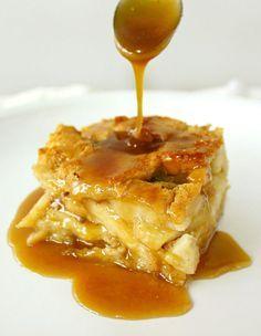 Drunken Apple Bread Pudding Recipe with Butterscotch Rum Sauce