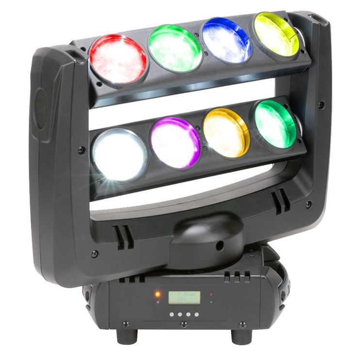 FE‐810A - 8*10W RGBW CREE 4in1 LED Beam Moving Disco Light ‐ 0‐100% dimmer, strobe effect. ‐ Versatile pixel beam effects. ‐ 4 pixel controlled 10W leds. ‐ DMX & Power In/Out Connectors ‐ Pan & tilt: 540 degree & 230 degree ‐ Control: DMX 512, Auto run, Master/slave. ‐ DMX Channels: 1/7/13/37