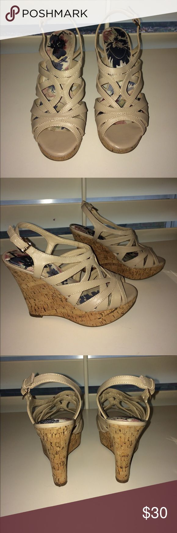 Cream wedges WORN ONCE cream wedges! Super easy to walk in. Shoes Wedges