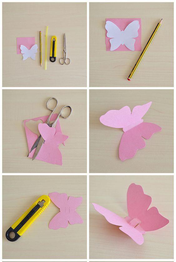Как сделать маленькую бабочку из бумаги для открытки