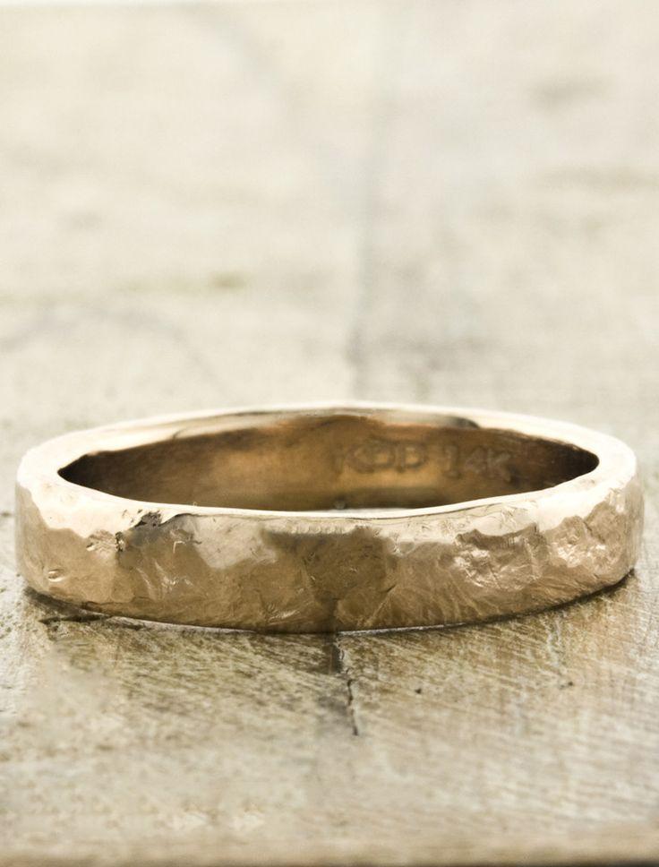 Hammered Men's Wedding Bands by Ken & Dana Design - Juno rose gold