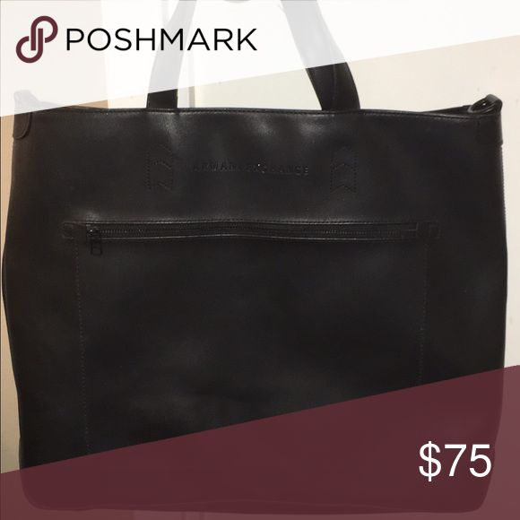 Armani Exchange Black Tote/Messenger Bag w/strap Used Armani Exchange tote bag in excellent condition. This bag is great for working in an office or school. Armani Exchange Bags Totes