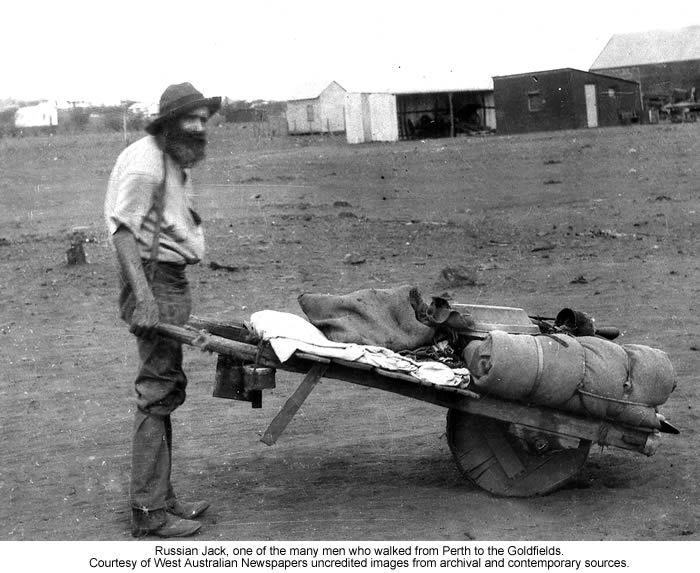Australian prospector ca 1888, not he single suspender tied behind his neck