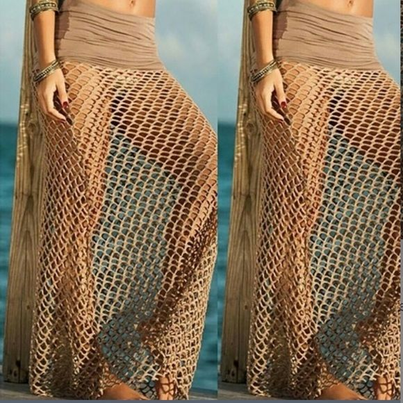 "Khaki Mesh Maxi Coverup Sarong Brand new & high quality coverup, dress, or skirt!  You can wear as a bust dress or as a wrap dress.   Material: Mesh Cloth / Length about 43.3""/ Waist about 27.5""-34"" Swim Coverups"