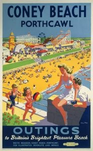 Coney Beach, Porthcawl, Wales.  Vintage Welsh Railway Travel Poster Print by British Railways