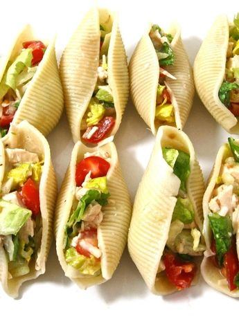 Super Easy, Low Calorie Chicken Caesar Salad Stuffed Shells